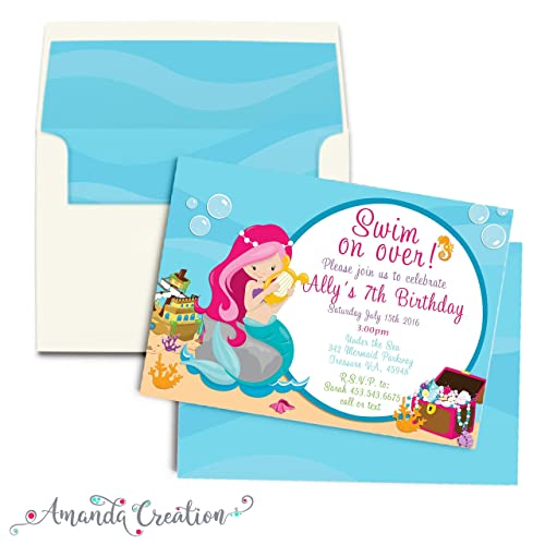 Image Unavailable Not Available For Color Mermaid Under The Sea Birthday Invitation