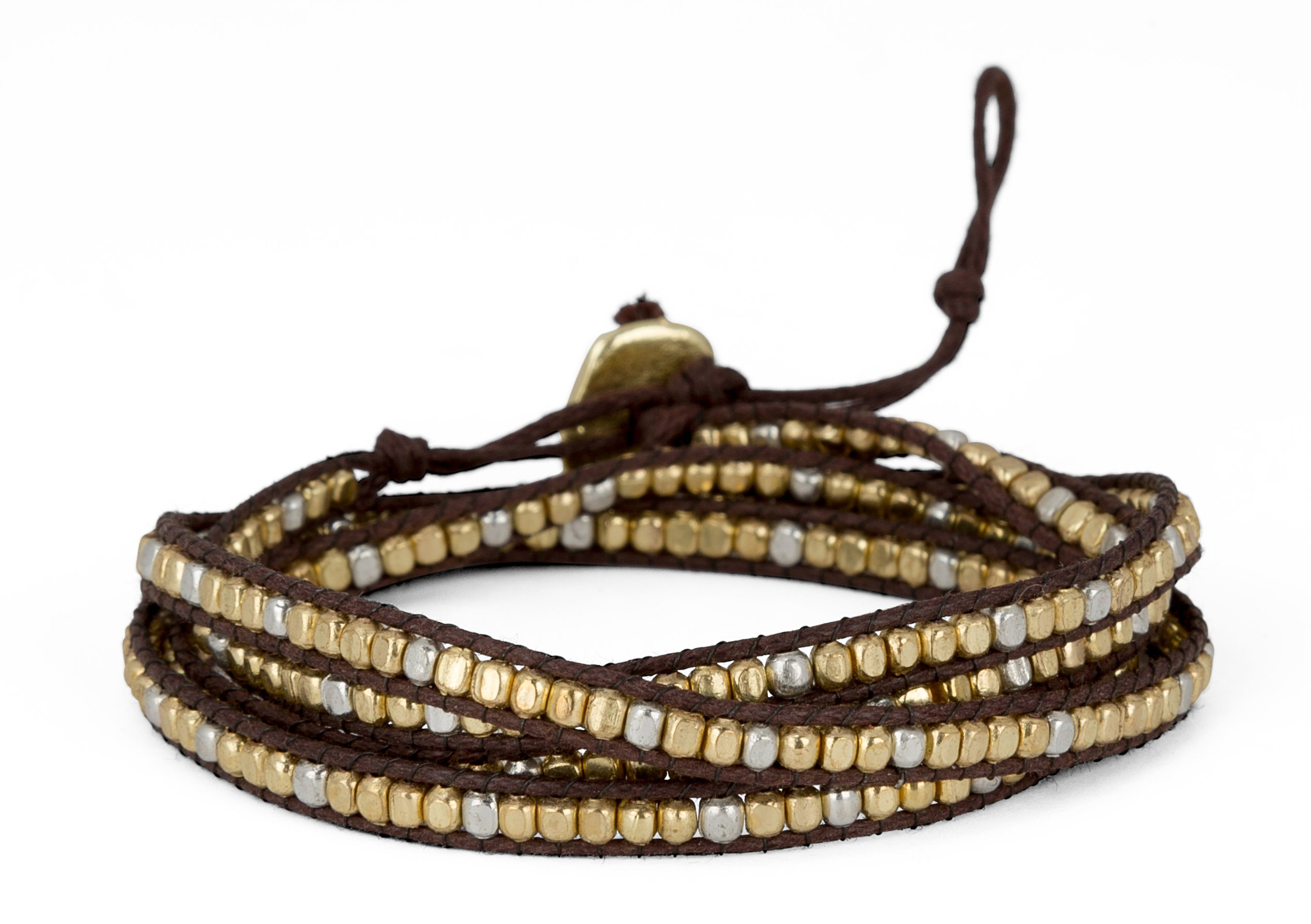 New! Handmade Boho 4 Wrap Bracelet Gold and Silver and Brown for Women | SPUNKYsoul Collection