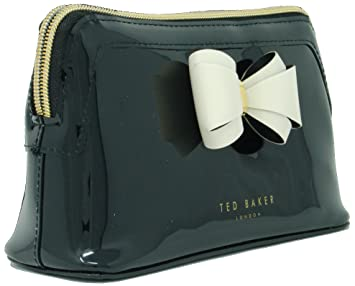 ae60eade1d791 Ted Baker  Aimee  Curved Bow Make Up   Cosmetic Bag in Black  Amazon ...