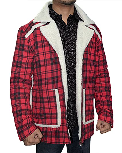 e8e6c24aa Red Flannel Shearling Jacket - Checkered Style Faux Shearling Coat for Men  ►Best Price◄