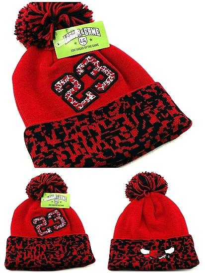 a96063ce4168 Amazon.com  Chicago New Leader 23 Jordan Bulls Colors Red Black Toque  Cuffed Pom Beanie Era Hat Cap  Sports   Outdoors