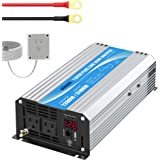 Power Inverter Pure Sine Wave 1200Watt 12V DC to 110V 120V with Remote Control Dual AC Outlets and USB Port for RV Car Solar