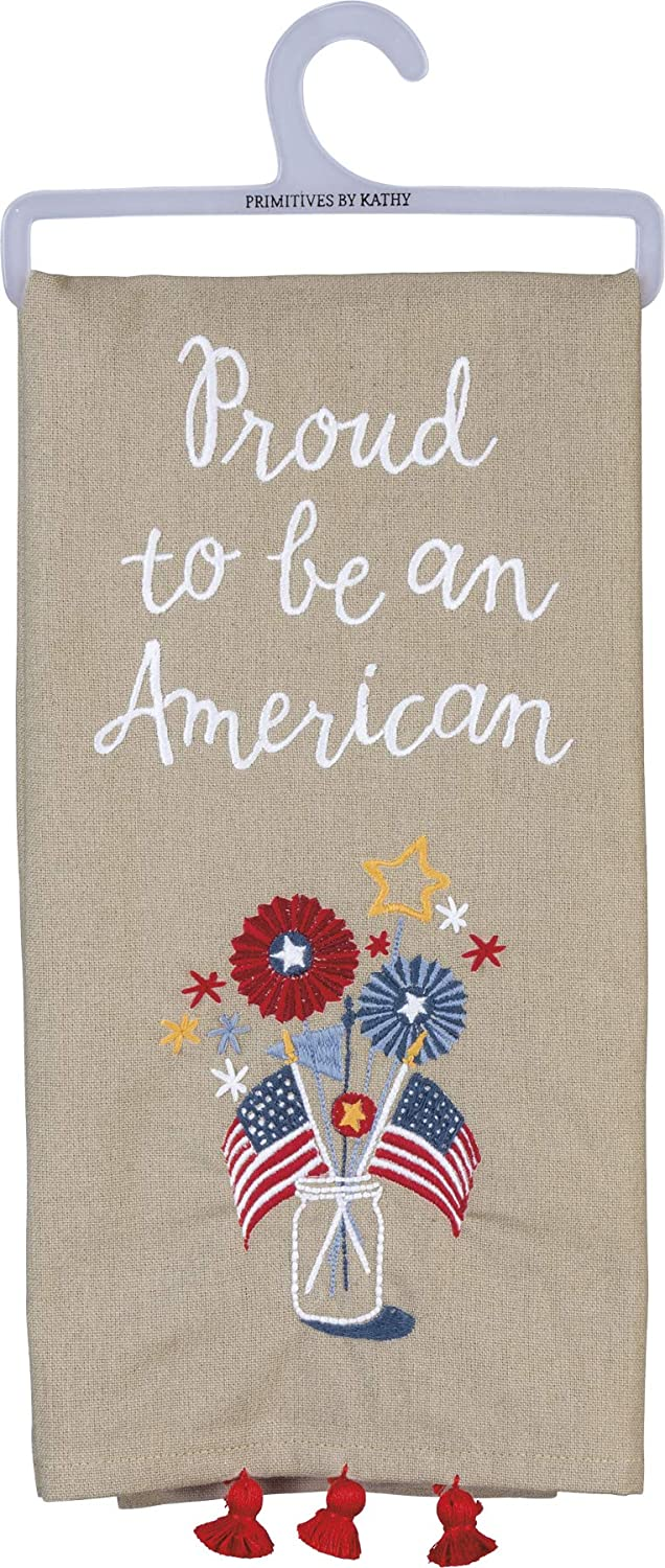 Primitives by Kathy Patriotic Embroidered Dish Towel, 20 x 26-Inches, Proud to Be an American