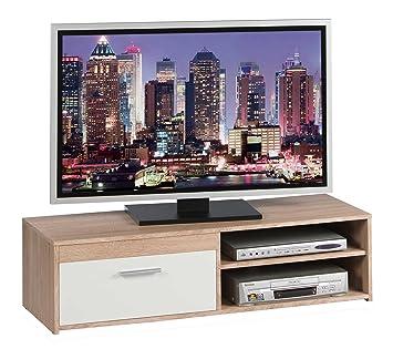Fernsehschrank weiß matt  TV-Lowboard Fernsehschrank Fernsehtisch GENIUS | Eiche Sonoma ...