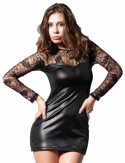 Amazon.com: ohyeah Women Plus Size Mini Dress Back See Through Lace ...