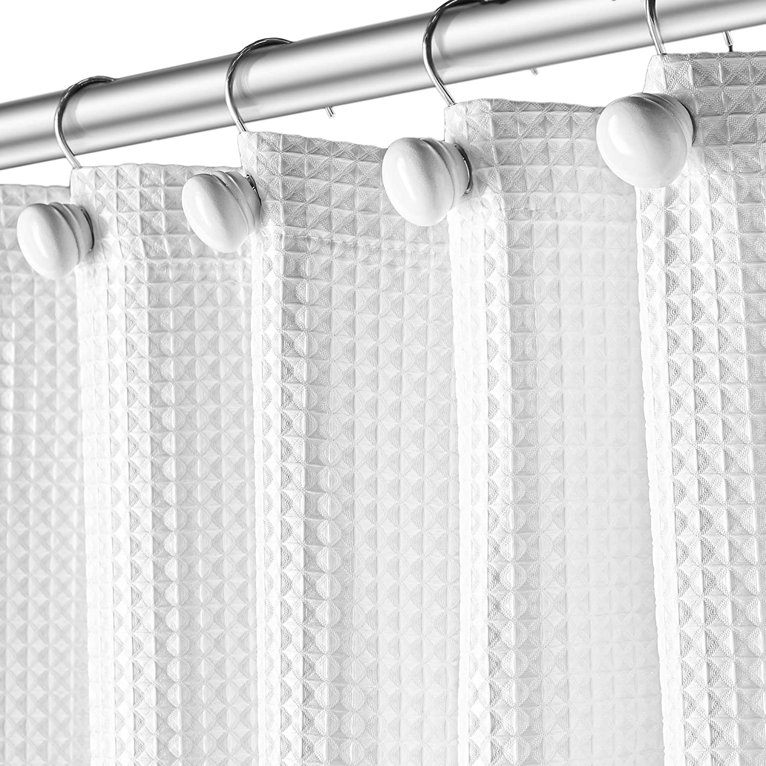 Creative Scents Shower Curtain Hooks - Set of 12 White Shower Rings for Bathroom Shower Curtain Rod - 100% Rust Proof (White): Home & Kitchen