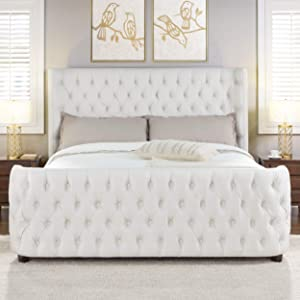 Jennifer Taylor Home Harmonie King Tufted Bed, Star White