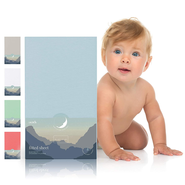 Draps Housse B/éb/é Coton Doux Laleni x1 Dimension 60x120-70x140cm Bleu Drap De Lit Petit Enfant