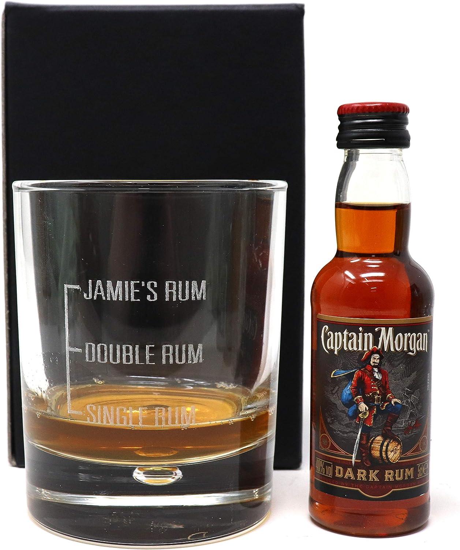 Grabado Láser/solo personaliseitonline/Ron con vaso de cristal + Capitán Morgan regalo para Navidad/cumpleaños