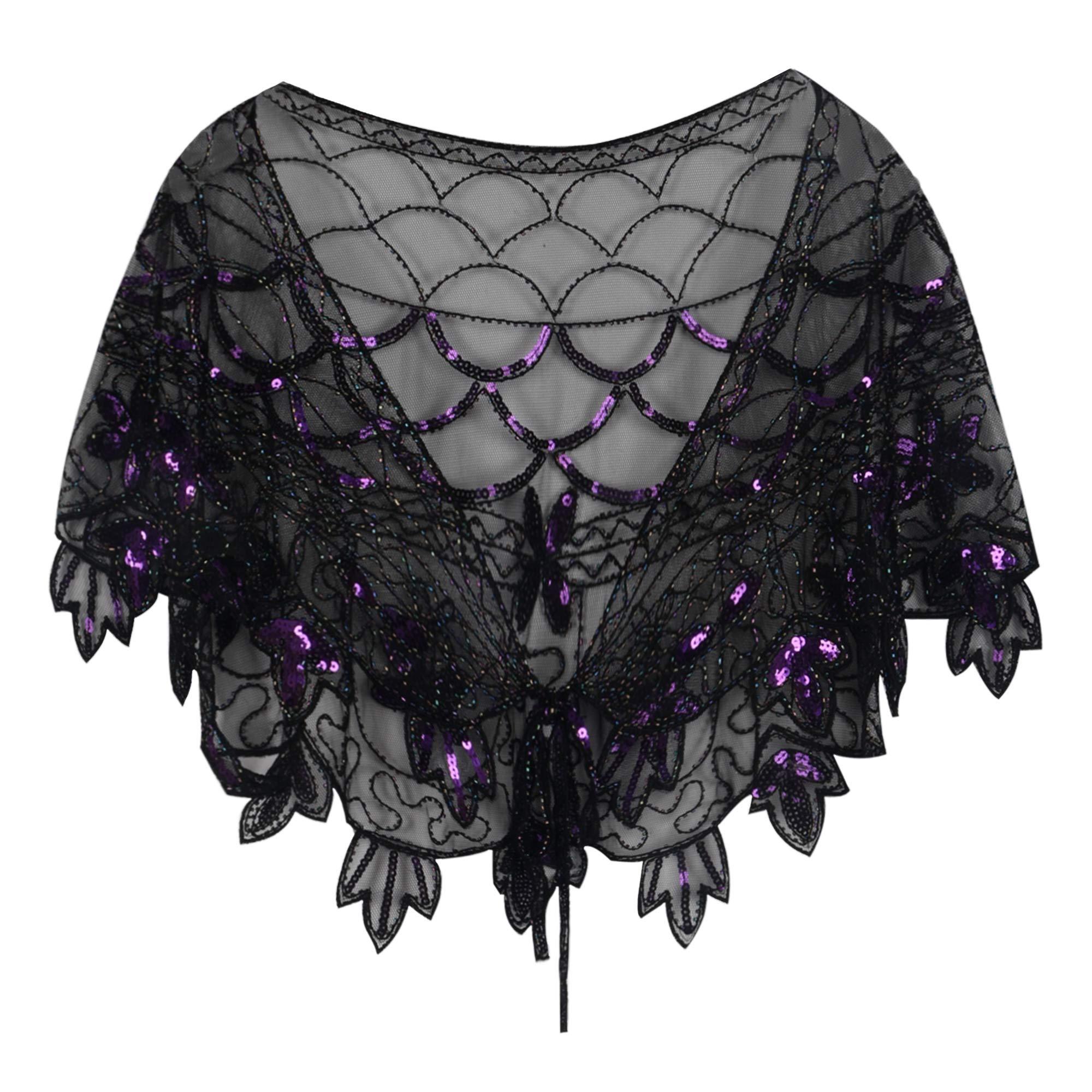 PrettyGuide Women's 1920s Shawl Beaded Vintage Bolero Flapper Evening Wraps Purple