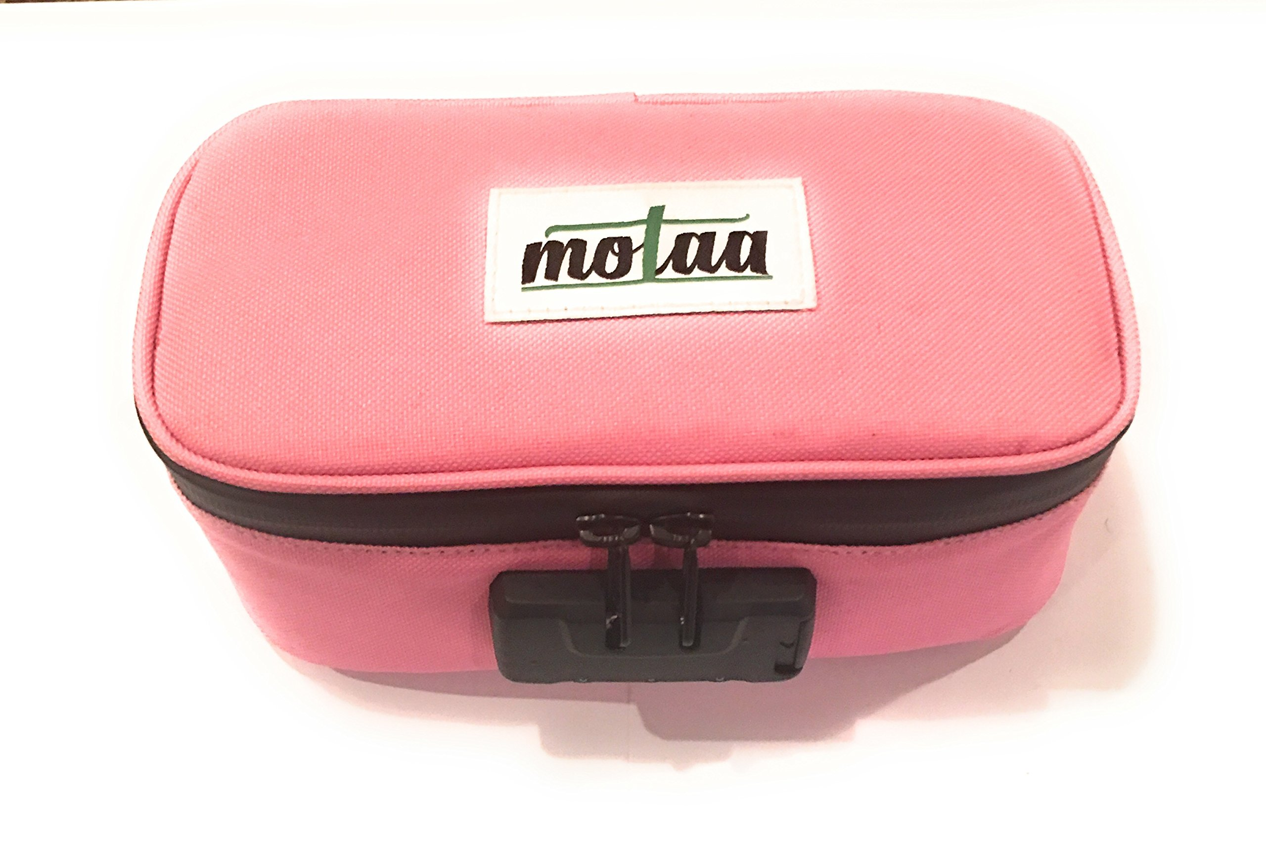 MOTAA Smell Proof case w/Combo Lock with Activated Carbon mesh Material, Includes a Bonus Incense Spoon (Pink)
