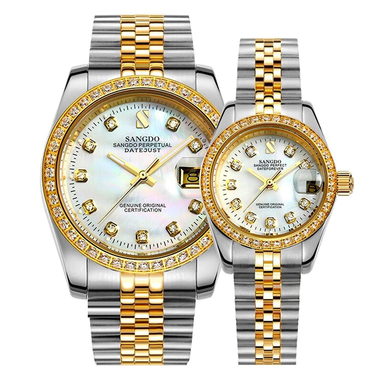 Couple Watches自動機械ゴールドシルバーステンレススチールダイヤモンド腕時計メンズ&レディースギフトのセット Two Tone/white B07DFJBV6G  Two Tone/white