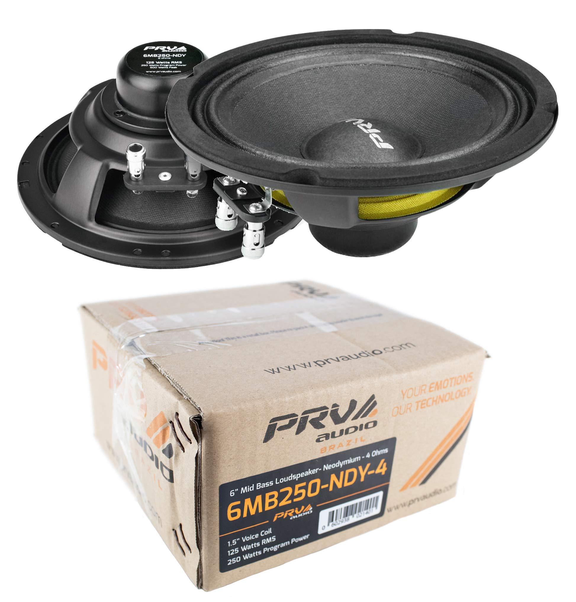 (2) PRV Audio 6MB250-NDY-4 6'' Neodymium Mid Bass Range Loud Speaker 4-ohm 500W Pair