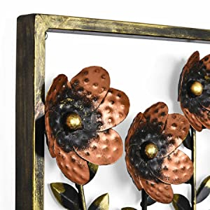 Collectible India Metal Decorative Floral Frame Wall Hanging Modern Arts Sculpture Gifts Home Decor (Size 14 x 14 inches)