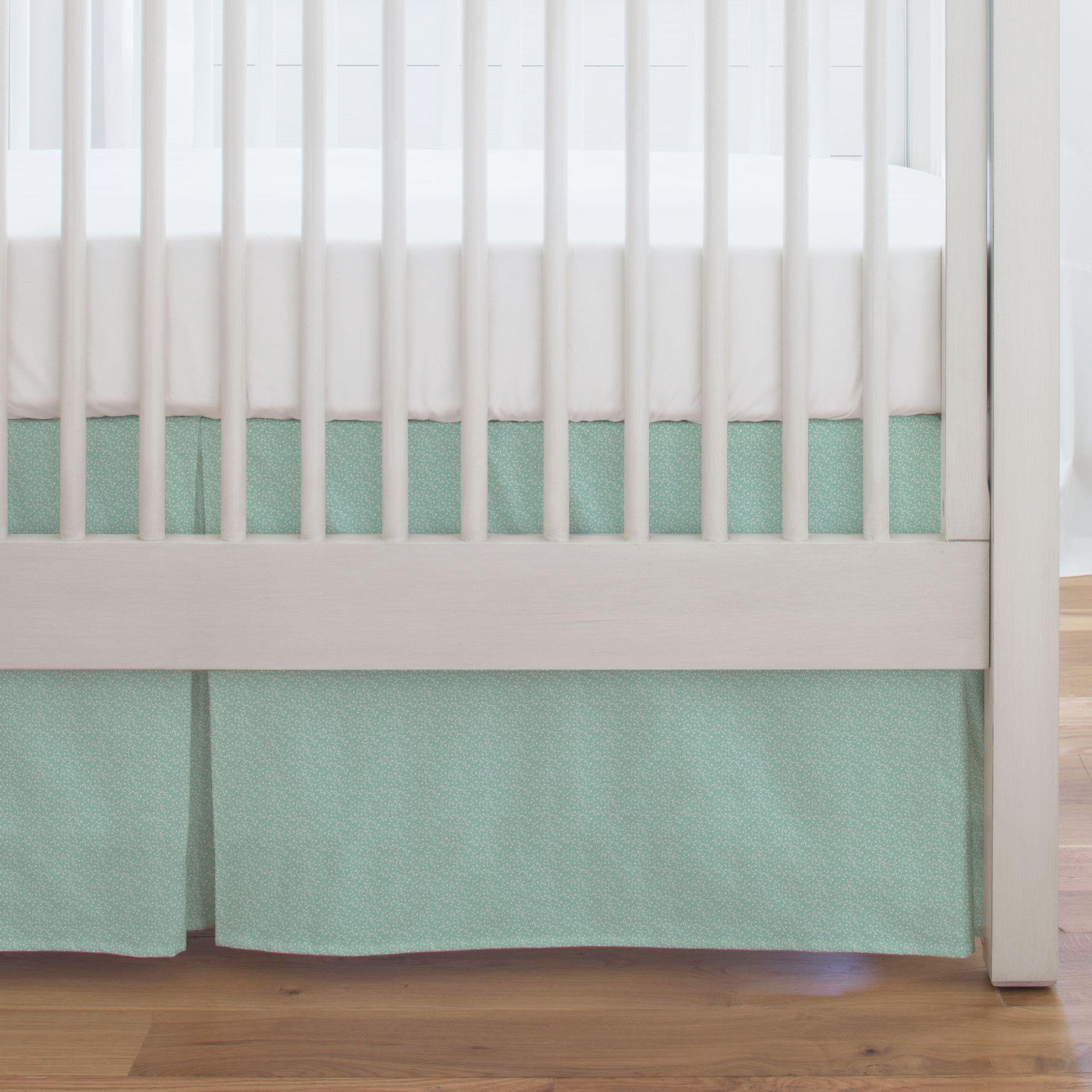Carousel Designs Mint Confetti Crib Skirt Single-Pleat 17-Inch Length - Organic 100% Cotton Crib Skirt - Made in The USA by Carousel Designs
