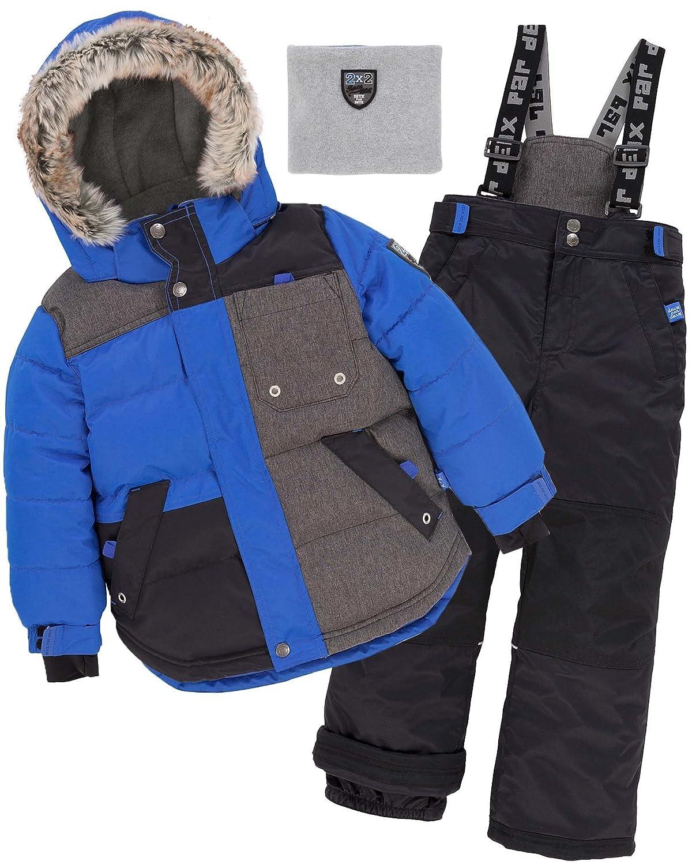 Deux par Deux Boys' 2-Piece Snowsuit Since 1986 Anthracite, Sizes 5-14