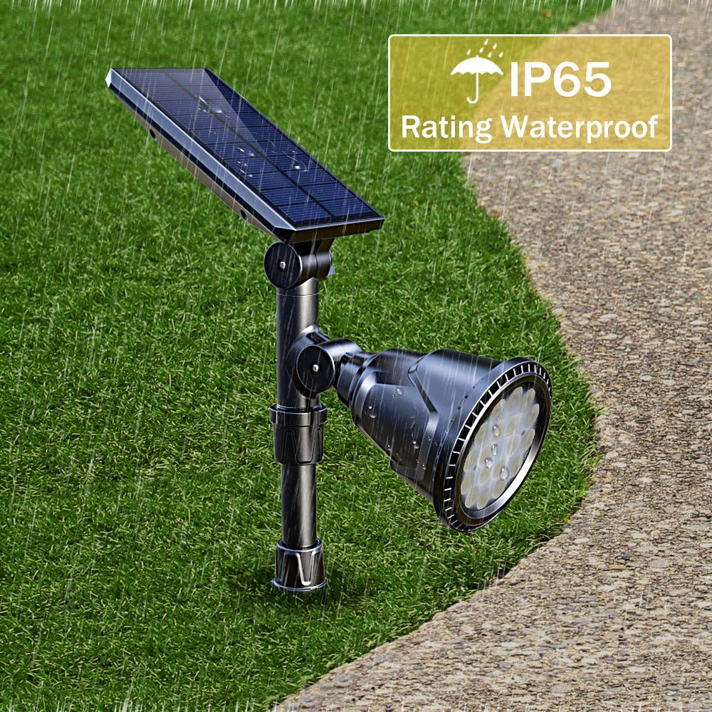 DBF Solar Lights Outdoor, Latest 18 LED Waterproof Solar Spotlights Solar Landscape Lights Auto On/Off Wall Security Lighting for Garden Yard Pathway Driveway Pool Landscaping, Pack of 2 (Cool White) by DBF (Image #5)