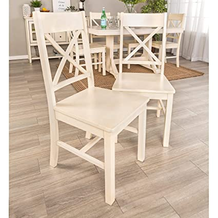 Astounding Amazon Com Millwright Antique White Dining Chairs Set Of Ncnpc Chair Design For Home Ncnpcorg