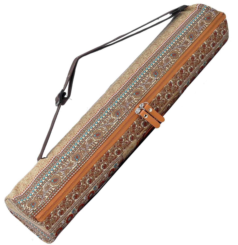 Bolsa de yoga »Sunita« hecha con lienzo (lona) de primera calidad, con un laborioso acabado / Para esterillas de yoga extragrandes de hasta 186 x 63 x ...