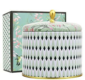 LA JOLIE MUSE Scented Candles 14.25Oz Aromatherapy Natural Soy Wax Large Tin Candle 2 Wicks, White Tea, Gift Candle