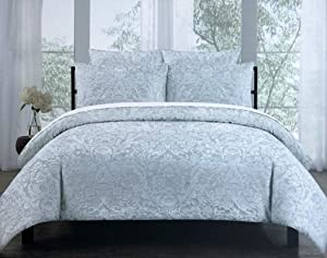 Tahari Home 3 Piece Full/Queen Size Luxury Duvet Cover Shams Set Raised Embroidered Floral Damask Pattern Birds in Cream/Off-White Thread on Light Gray/Blue - Charleston