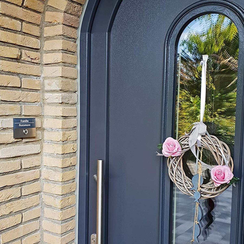 une plaque avec bouton-poussoir et une sonnette. un bouton de sonnette lumineux /à DEL V2A Metzler-Trade/® Sonnette de porte en acier inoxydable anthracite incluantla gravure