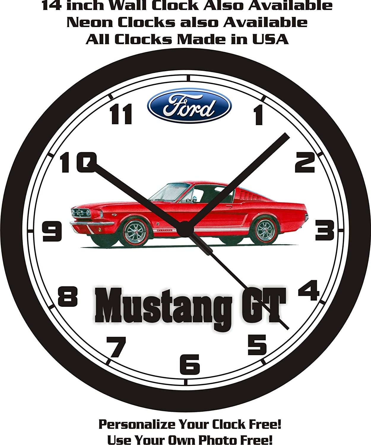 Amazon com 1965 ford mustang gt fastback wall clock free usa ship home kitchen