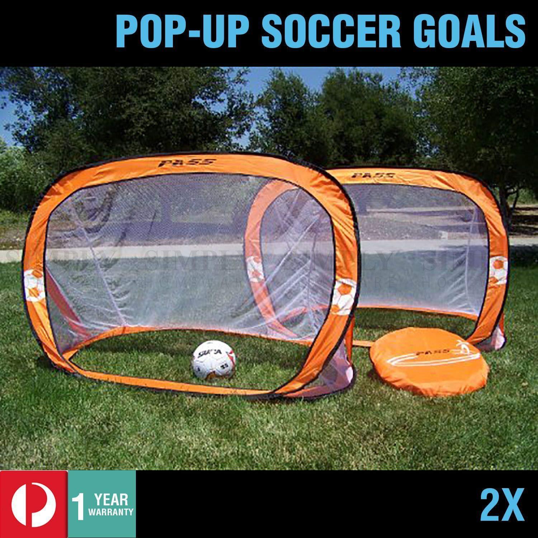 c7f80262f 2X Pop Up Soccer Goals Football Net Kids Portable Mini Mini Mini Foldable  PopUp orange 2f9ab2