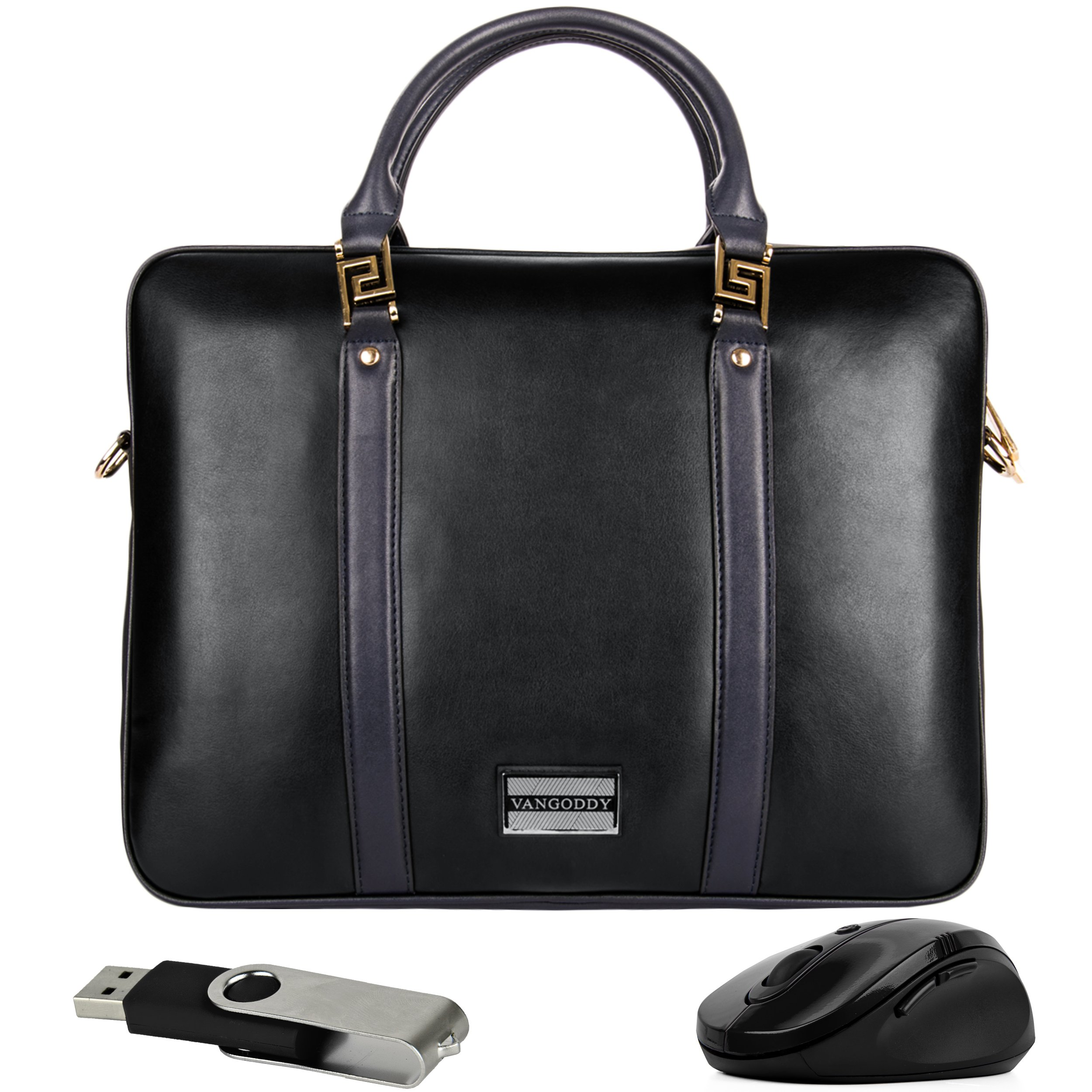 VanGoddy Meka Authentic Leather Laptop Carrier with Mouse and Flash Drive for HP EliteBook / ProBook / Spectre / Pavilion 10''-12inch