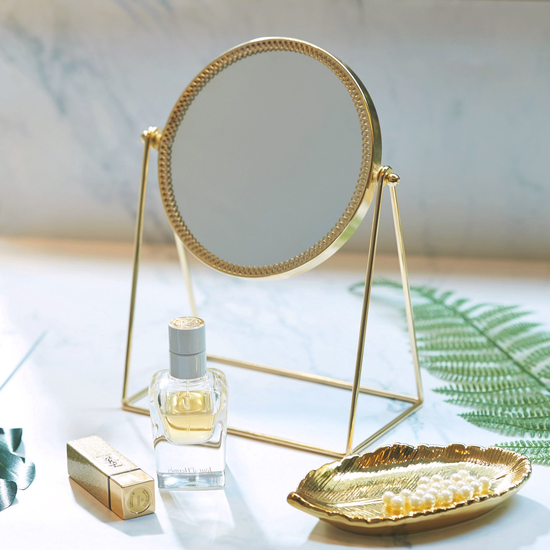 PuTwo Makeup Mirror Metal Gold Round Make-up Mirror Golden Makeup Vanity Mirror Decorative Mirrors Perfect Dressing Table - Champagne Gold by PuTwo (Image #1)