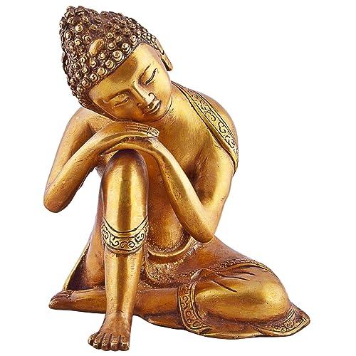 CraftVatika Buddhist Statue Large Brass Buddha Statue – Sleeping Resting Golden Sculpture
