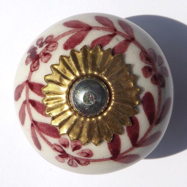 """Porcelain Ceramic Rose Flower Retro door knob 2.5"""" Round"""