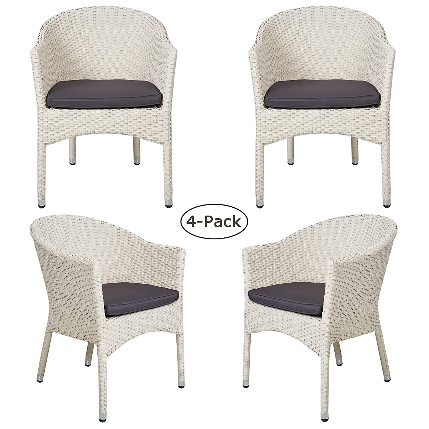 Amazon com luckyermore 4 pack patio dining chair modern rattan wicker chair with cushion home furniture all weather outdoor garden balcony lawn