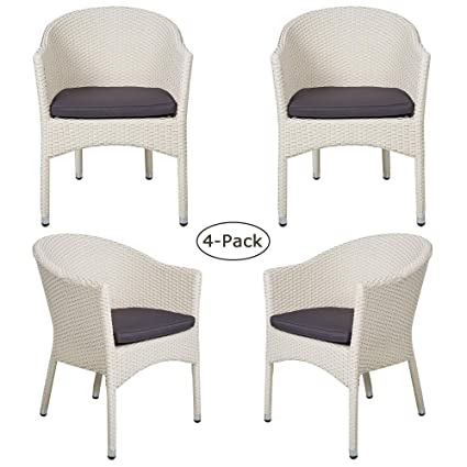Remarkable Amazon Com Luckyermore 4 Pack Patio Dining Chair Modern Alphanode Cool Chair Designs And Ideas Alphanodeonline