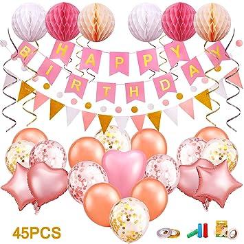 LENBEST Banner de Cumpleaños. Feliz Cumpleaños Decoración Banner, Happy Birthday Banner con Globo de Latex Color, Bola de Nido de Abeja, Globo de ...