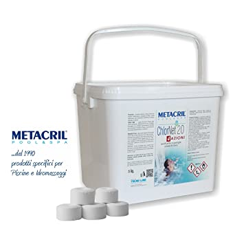 Cloro Pastillas Piscina 5 kg. – Metacril Chlor Net 20 4 Azioni 5 kg.
