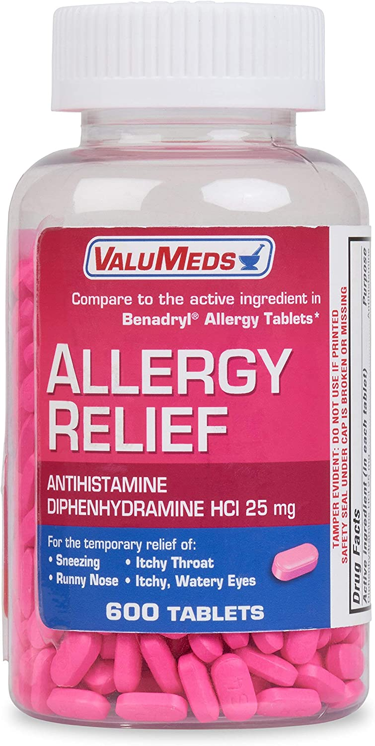 ValuMeds Allergy Medicine (600 Tablets) Antihistamine, Diphenhydramine HCl 25 mg | Children and Adults | Relieve Itchy Eyes, Runny Nose, Sneezing