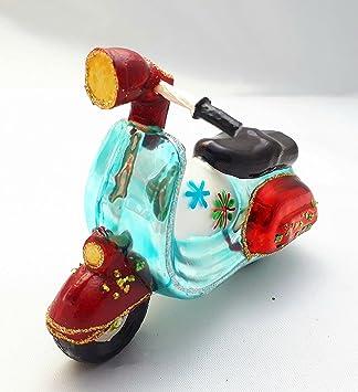 Vesparoller Vespa Roller Bike Weihnachtsmann Glas Weihnachtsschmuck