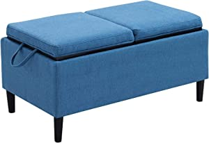 Convenience Concepts Designs4Comfort Magnolia Storage Ottoman with Trays, Soft Blue Fabric