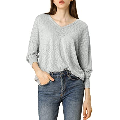 Allegra K Women's Loose Fit Long Sleeve Knitted Top V Neck Plain Casual Knitwear at Women's Clothing store