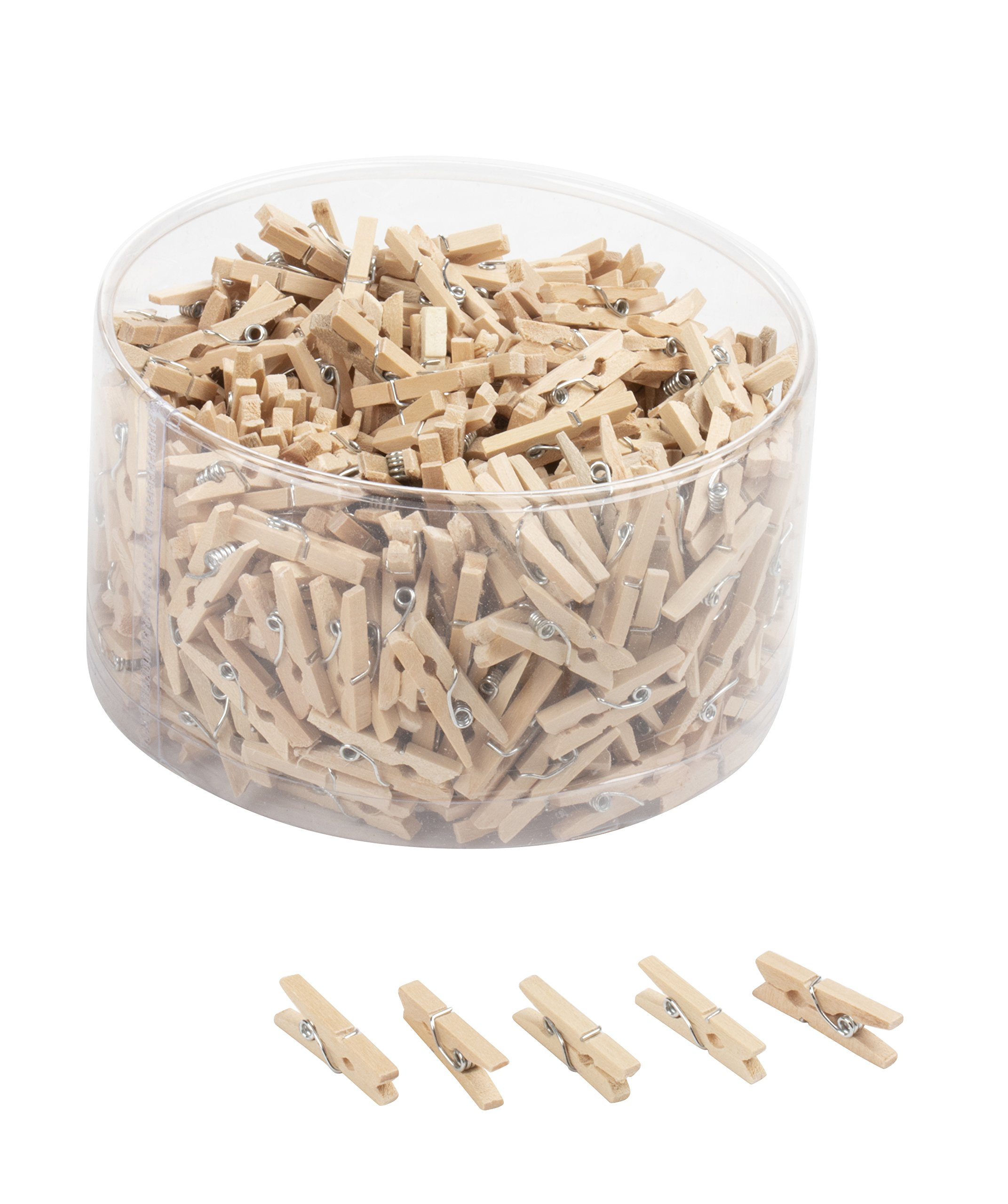 Mini Wooden Clothespins - 500-Piece Unfinished Wooden Clips for Crafts, Photo Clips, Home Decoration, 0.5 x 0.5 x 0.98 inches