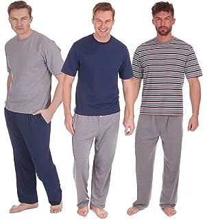 Mens Pyjamas Set Short Sleeve Top   Long Bottoms Pants Summer (1 or 3 pack 8a25a693c