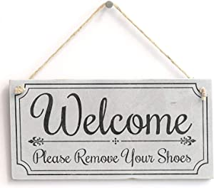 Hty Welcome Please Remove Your Shoes' - Cute Welcome Sign - Vintage Door Sign Plaque 10