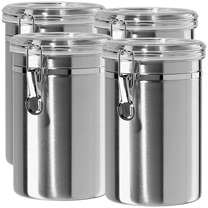 Airtight Canisters Sets for the Kitchen Stainless Steel - Beautiful for Kitchen Counter, Medium 64oz, Food Storage Container, Tea Coffee Sugar Flour Canisters by SilverOnyx - Medium 64oz - 4 Piece