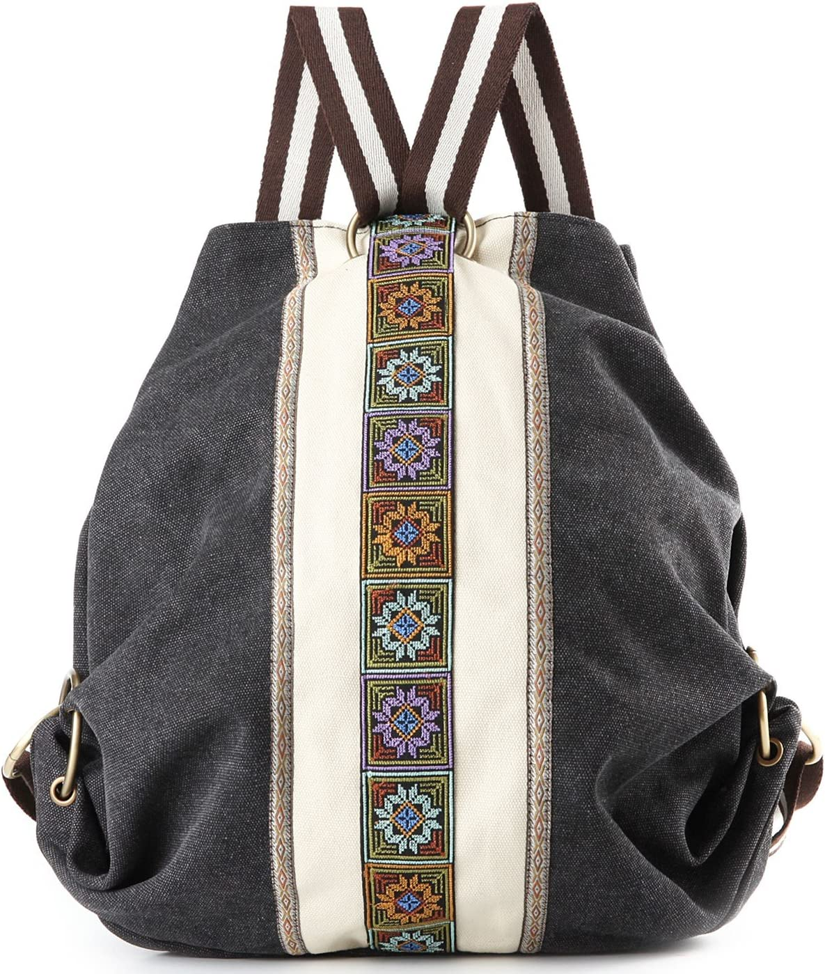Women Canvas Backpacks Daypack Casual Shoulder Bag, School Bag Laptop Backpack (Grey Black)