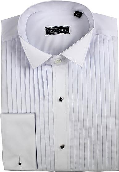 Peter England Camisa de Vestir de algodón con Cuello de ala Plisada a máquina: Amazon.es: Ropa y accesorios