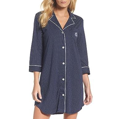 da7974d654 Lauren Ralph Lauren Women s Essentials Bingham Knits Sleep Shirt Navy Polka  Dot Small