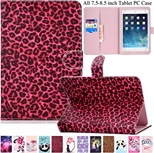Universal Case for 7.5-8.5 inch Tablet, Artyond PU Leather Card Slot Stand Cover for iPad Mini1/2/3/4,Fire HD 8,Galaxy Tab E/Tab A 8.0 & Other 7.5-8.5 inch Andriod,iOS Tablet (Red Leopard)