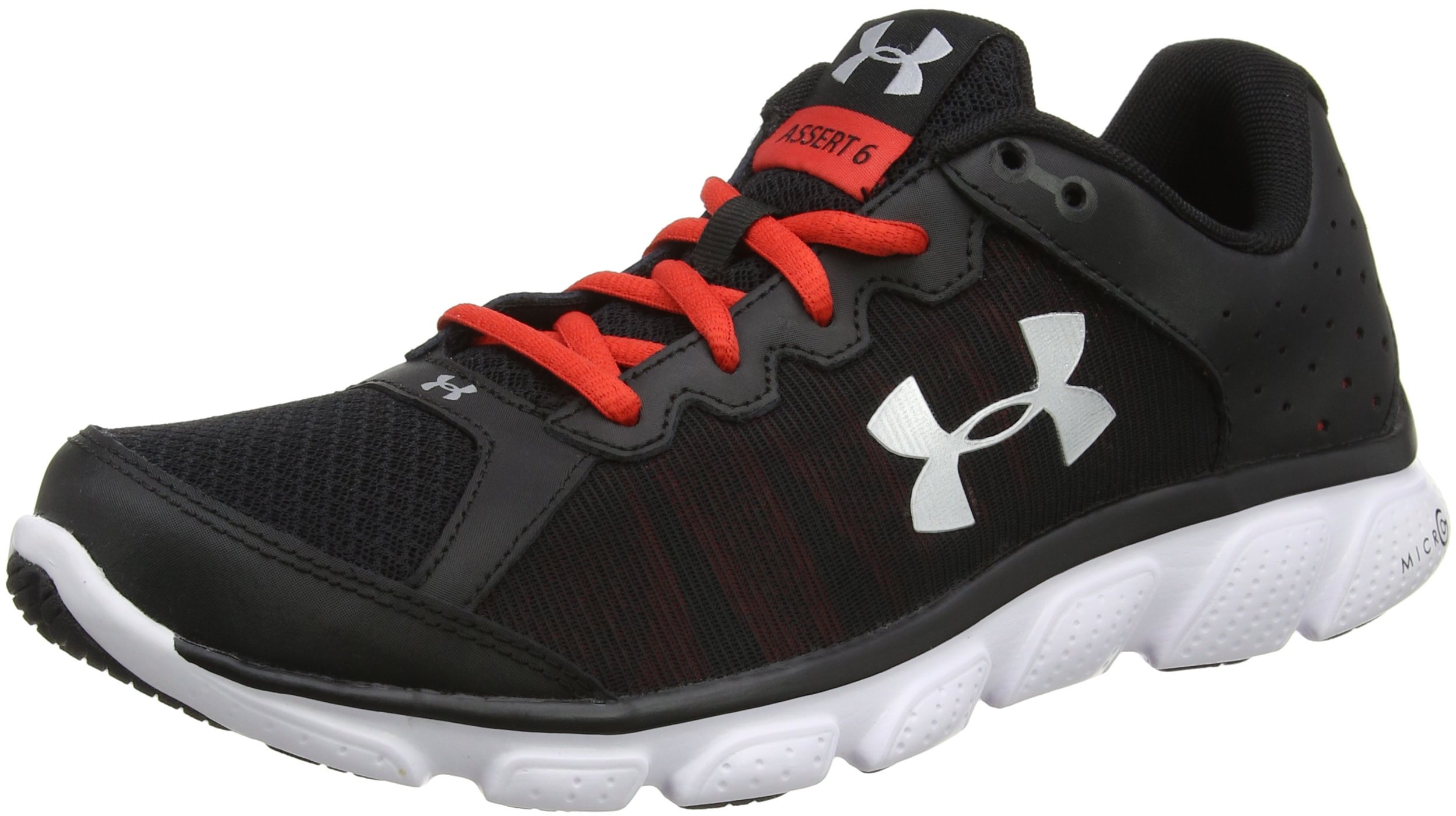 Under Armour Men's UA Micro G Assert 6 Black/Pomegranate/Metallic Silver Athletic Shoe
