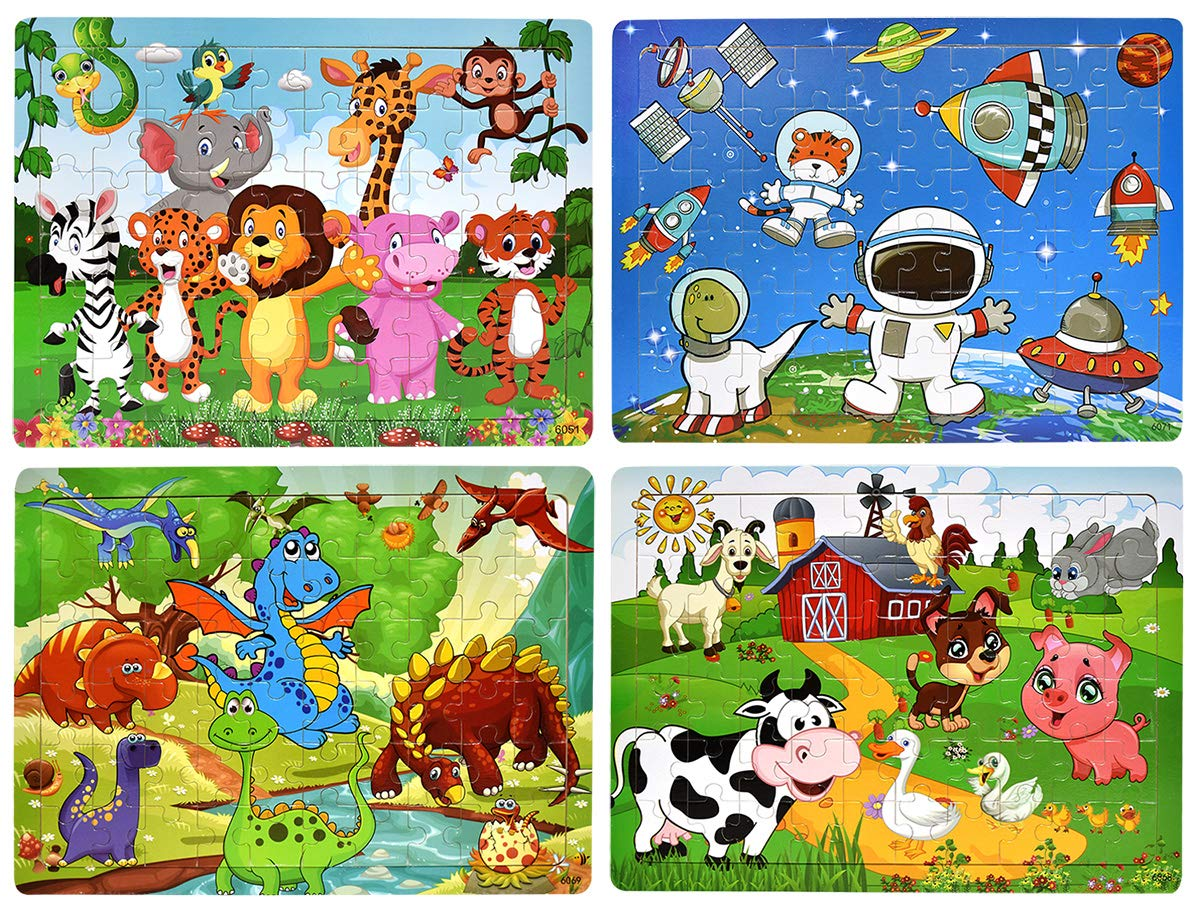 Wooden Puzzles for Kids Age 3-8, [60 Piece] Animal Puzzles Preschool Educational Learning Toys for Toddlers, Jigsaw Puzzles Toy Set of 4 Theme - Dinosaur, Safari, Farm and Space by CHAFIN